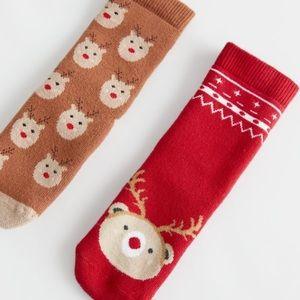 NWT 6-12 month Zara Christmas reindeer socks